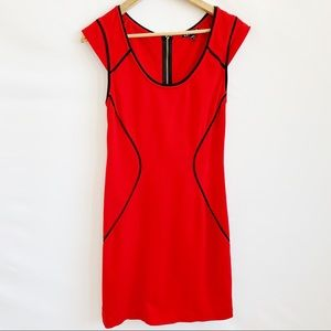 Express red mini dress with black piping Sz 8